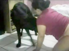 Girl with huge black dog 05